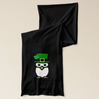 Green St Patricks Day scarf | penguin leprechaun