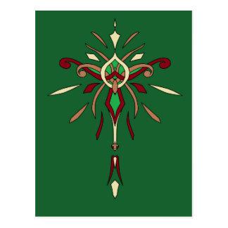 Green St Patricks Day Starburst Designer Postcard