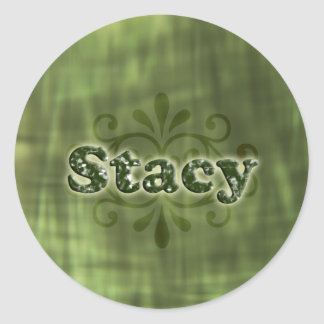 Green Stacy Round Stickers