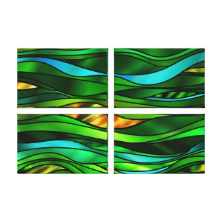 Green Stained Glass Abstract Canvas Print