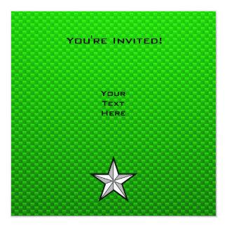Green Star 13 Cm X 13 Cm Square Invitation Card