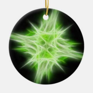 Green Star 1 Double-Sided Ceramic Round Christmas Ornament