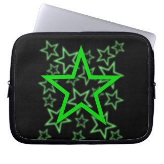 Green Star Black Laptop Sleeves