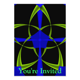 Green Star Fractal 13 Cm X 18 Cm Invitation Card