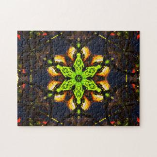 Green Star Mandala Jigsaw Puzzle