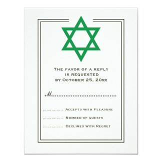 Green Star of David Bar Mitzvah reply card 11 Cm X 14 Cm Invitation Card