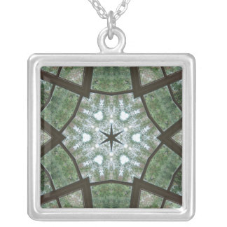 Green star on green and white square pendant necklace