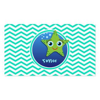 Green Starfish Aqua Green Chevron Business Card Templates