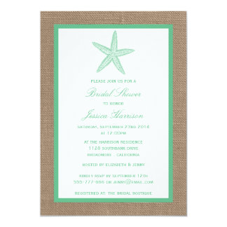 Green Starfish Beach Burlap Bridal Shower 5x7 Paper Invitation Card