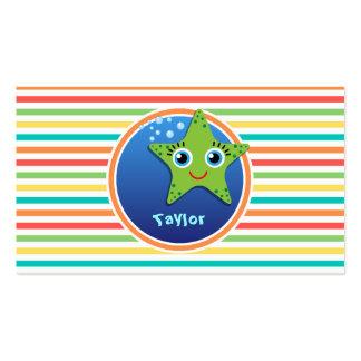 Green Starfish Bright Rainbow Stripes Business Cards