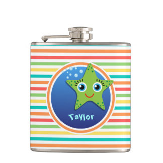 Green Starfish; Bright Rainbow Stripes Hip Flask