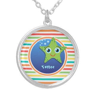 Green Starfish Bright Rainbow Stripes Jewelry