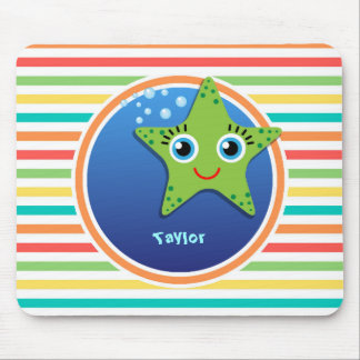 Green Starfish; Bright Rainbow Stripes Mouse Pad
