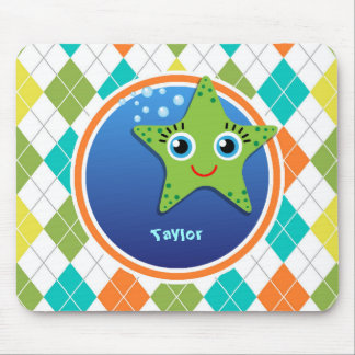 Green Starfish on Colorful Argyle Pattern Mouse Pad