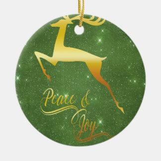Green Starry Sky Gold Reindeer Christmas Gift Christmas Ornament