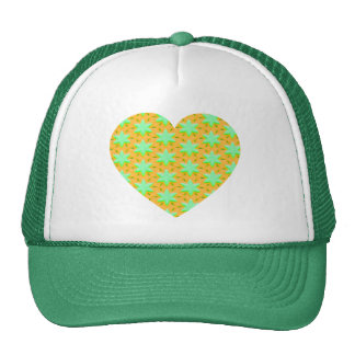 Green Stars and Gold Heart Mesh Hats