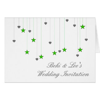 Green stars and hearts note card