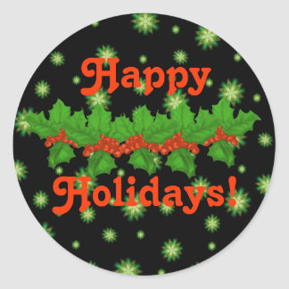 Green Stars and Holly Happy Holidays Stickers