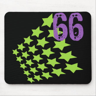 GREEN STARS AND PURPLE NUMBER 66 MOUSE PADS