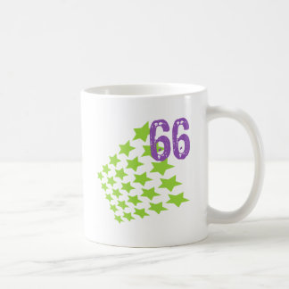 GREEN STARS AND PURPLE NUMBER 66 CLASSIC WHITE COFFEE MUG