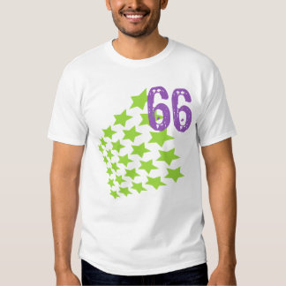 GREEN STARS AND PURPLE NUMBER 66 T-SHIRTS
