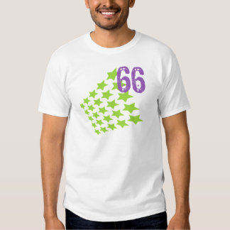 GREEN STARS AND PURPLE NUMBER 66 T SHIRTS