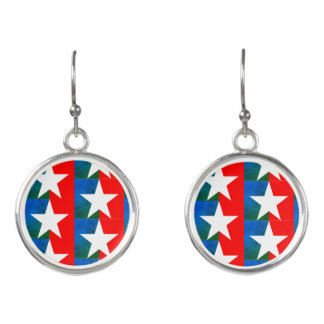 Green Stars and Stripes Earrings