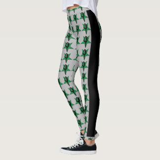 Green stars cheerleader design pattern leggings