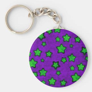Green Stars On Purple Grunge Style Keychains