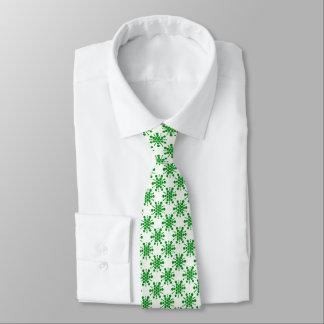 Green stars on white tie