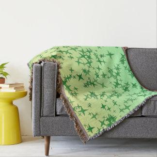 Green Stars Throw Blanket