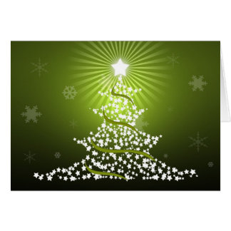 Green Stary Christmas Tree Greeting Card