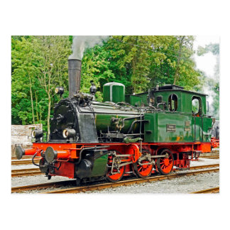 Green Steam Engine Postcard