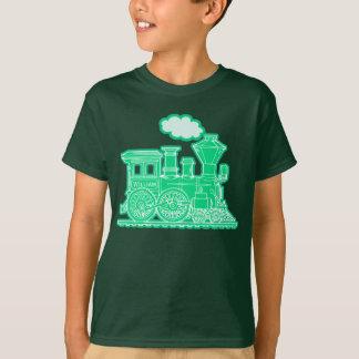 "Green steam loco train ""your name"" kids t-shirt"