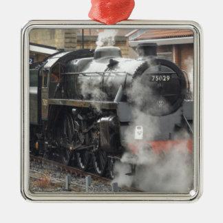 Green Steam locomotive Silver-Colored Square Decoration