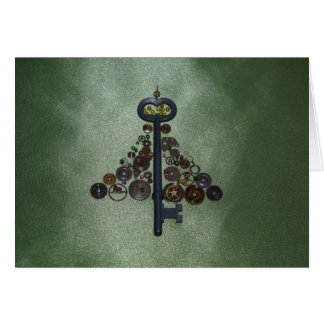Green Steampunk Christmas Tree Greeting Card