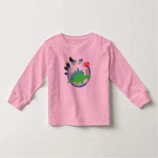 Green Stegosaurus Dino in Rainbow Forest Shirt