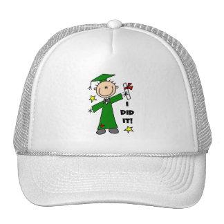 Green Stick Figure Boy Graduate Hats
