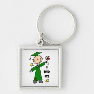 Green Stick Figure Boy Graduate Key Chain