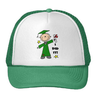 Green Stick Figure Boy Graduate Mesh Hat
