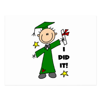 Green Stick Figure Boy Graduate Postcard