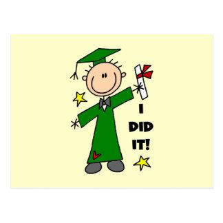 Green Stick Figure Boy Graduate Postcard