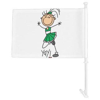 Green Stick Figure Cheerleader Car Flag