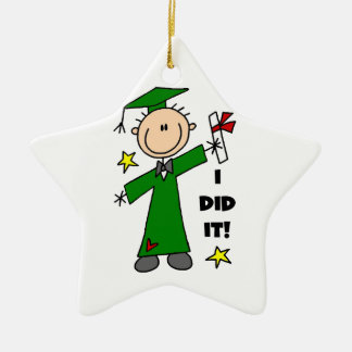 Green Stick Figure Male Graduate Christmas Ornament