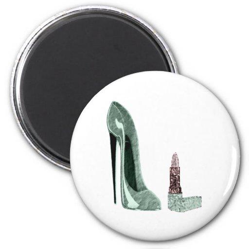 Green Stiletto Shoe and Lipstick Art Fridge Magnet