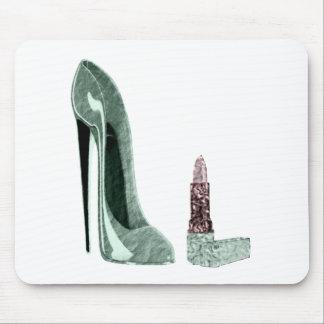 Green Stiletto Shoe and Lipstick Art Mouse Pad
