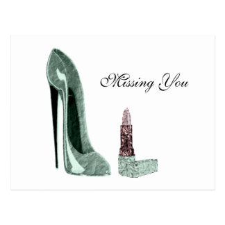 Green Stiletto Shoe and Lipstick Art Postcard
