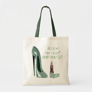 Green Stiletto Shoe and Lipstick Art Tote Bag