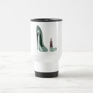 Green Stiletto Shoe and Lipstick Art Travel Mug