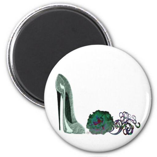Green stiletto shoe and rose art Magnet